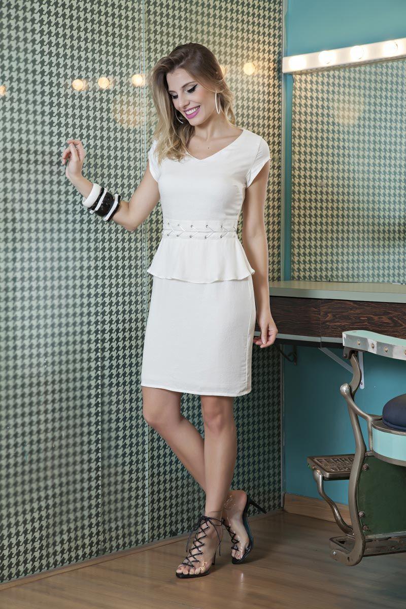 Vestido em Viscose branco Luciana Pais